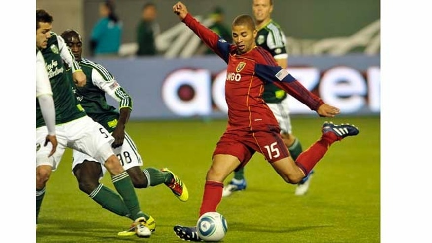 PORTLAND, OR - APRIL 30: Alvaro Saborio #15 of the Real Salt Lake kicks the ball during the second half of the game against the Portland Timbers at Jeld-Wen Field on April 30, 2011 in Portland, Oregon. The Timbers won the game 1-0. (Photo by Steve Dykes/Getty Images)