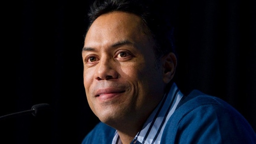 Jan. 5: File photo shows former Toronto Blue Jays baseball player Roberto Alomar during a news conference,  in Toronto.  (AP Photo/The Canadian Press, Darren Calabrese, File)