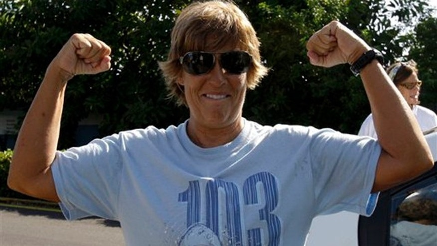 Aug. 7, 2011: U.S. swimmer Diana Nyad, 61, gestures before a press conference in Havana, Cuba, to announce her 103-mile crossing between Cuba and Key West in Florida.