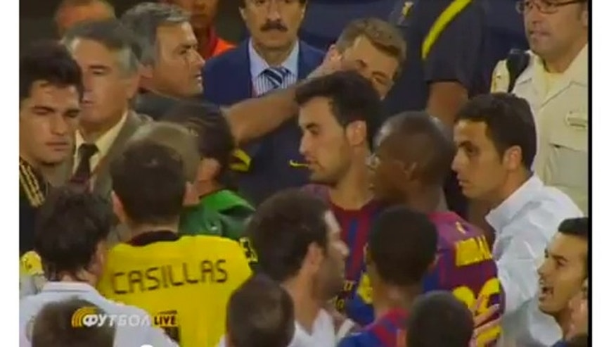 Barcelona assistant coach Tito Vilanova  got poked in the eye during  a Spanish Supercup game-ending brawl.