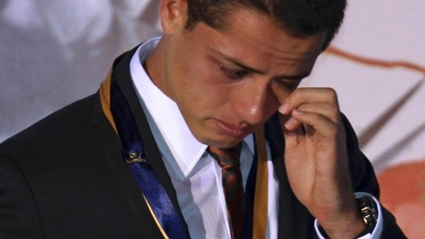 "July 21: Mexican soccer player Javier ""Chicharito"" Hernandez, reacts during a ceremony in which he was named the 2011 Tourism Ambassador for the State of Jalisco in Guadalajara, Mexico. Chicharito currently plays for the  English football club Manchester United. (AP Photo/Bruno Gonzalez)"