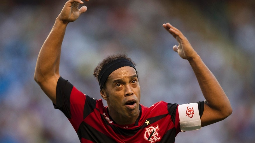 Flamengo's Ronaldinho reacts during a Brazilian soccer league match against Vasco da Gama in Rio de Janeiro, Brazil, Sunday, Aug.  28, 2011. The match ended 0-0. (AP Photo/Felipe Dana)