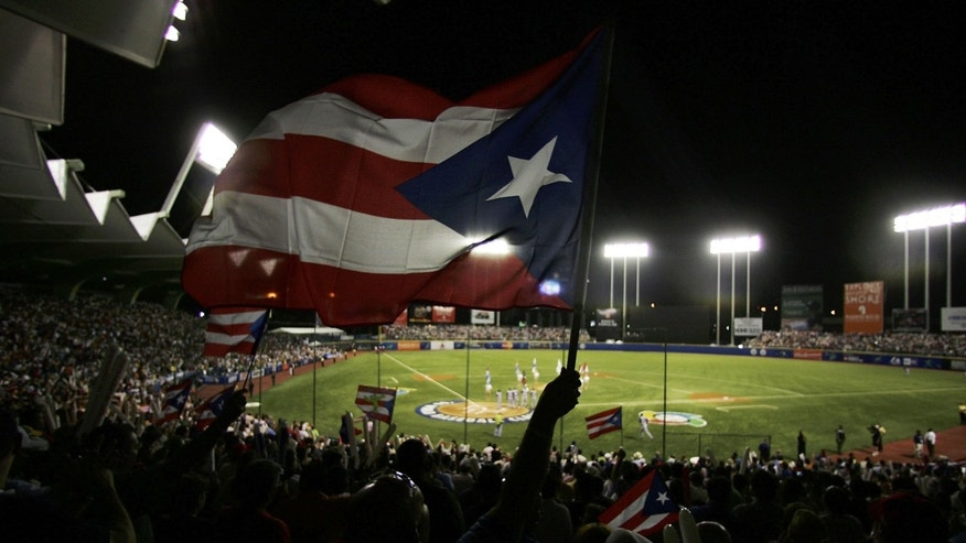 A fan waves the Puerto Rican flag before a World Baseball Classic game.  (Photo by Al Bello/Getty Images)