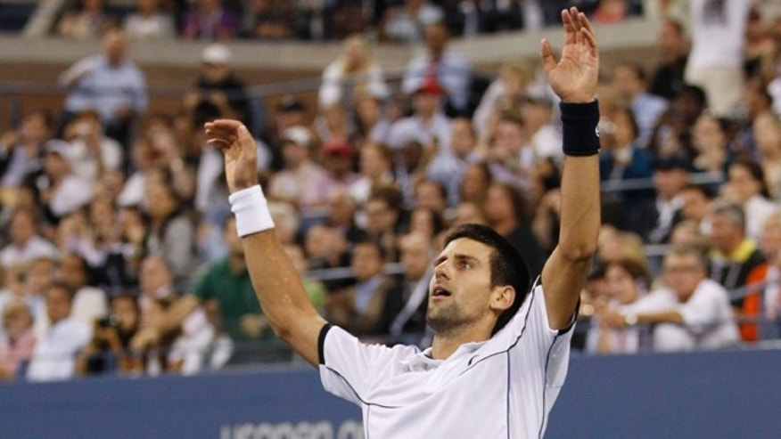 Sept. 12, 2011: Novak Djokovic of Serbia reacts after winning the men's championship match against Rafael Nadal of Spain at the U.S. Open.