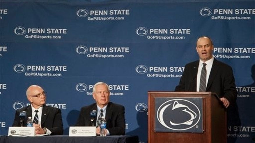 Jan. 7: Penn State's new football coach Bill O'Brien addresses the media after he was introduced during an NCAA college football news conference in State College, Pa.