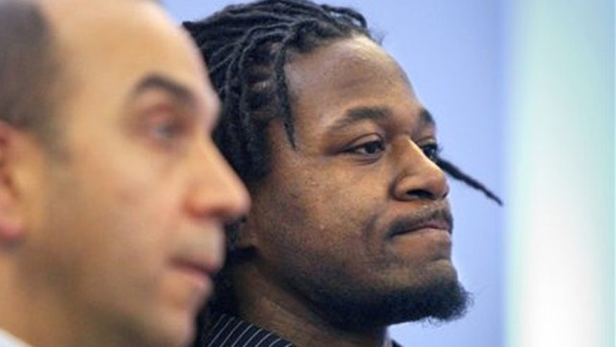 "Jan. 18, 2012: Cincinnati Bengals cornerback Adam ""Pacman"" Jones, right, appears in Hamilton County Municipal Court in Cincinnati with his lawyer, Ed Perry."