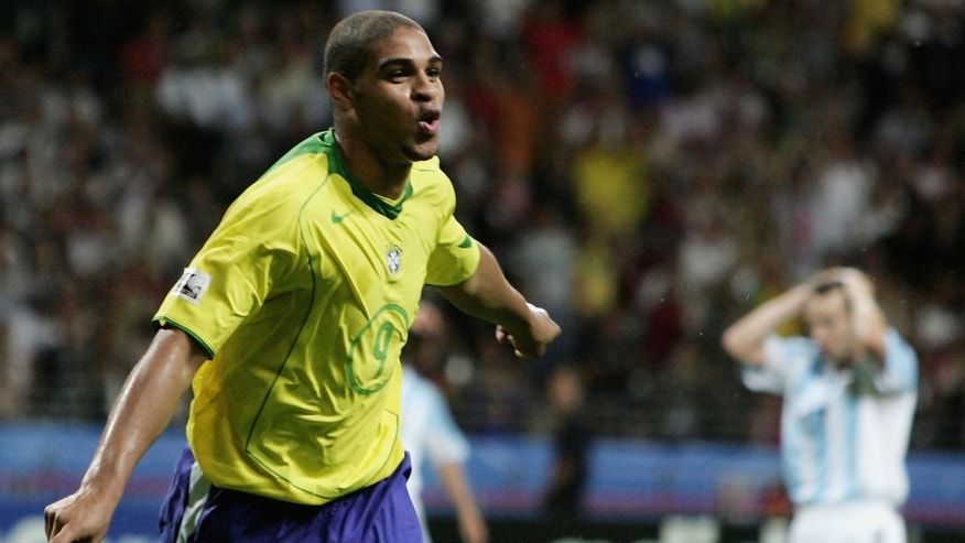 Adriano of Brazil celebrates scoring his team's fourth goal during the FIFA 2005 Confederations Cup Final between Brazil and Argentina at the Waldstadion on June 29, 2005, in Frankfurt, Germany.  (Photo by Ben Radford/Getty Images)