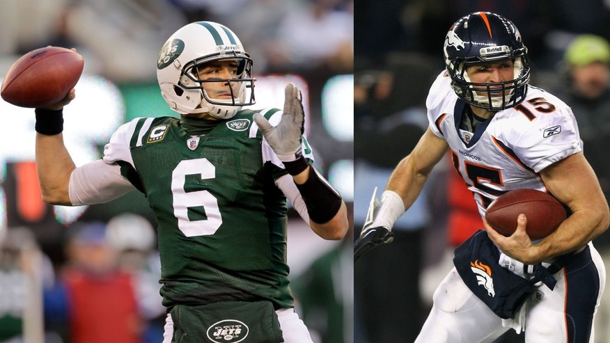 (L) QB Mark Sanchez. (R) QB Tim Tebow