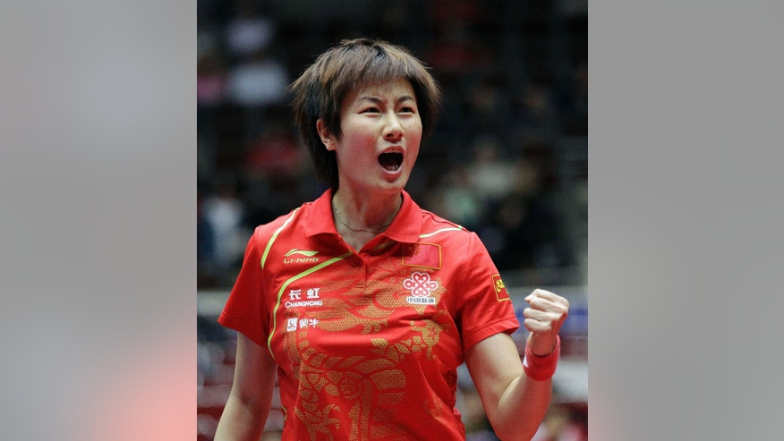 April 1, 2012: In this photo, China's Ning Ding reacts during the women's final of the World Team Table Tennis championships between Singapore and China, in Dortmund, Germany.