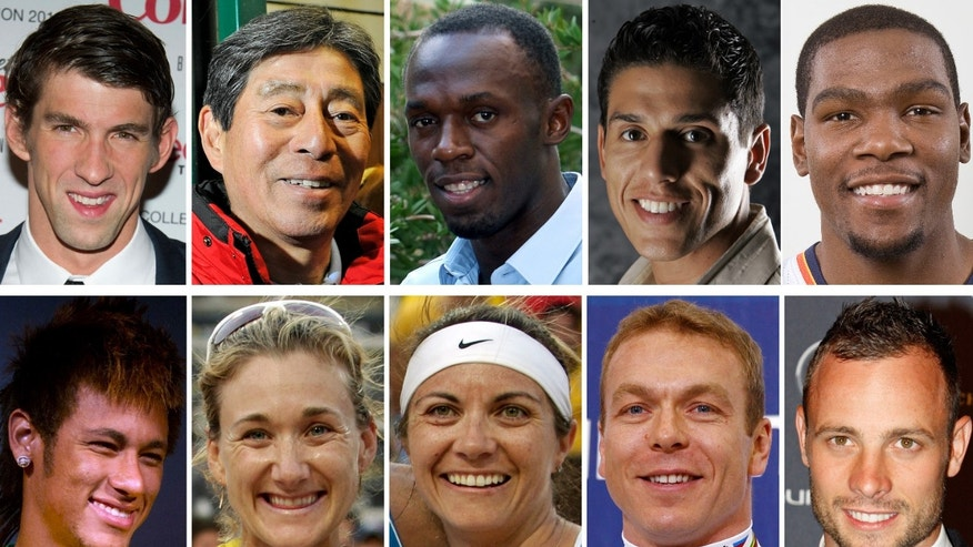 These are file photos showing Olympic hopfuls, top row from left; Michael Phelps, Hiroshi Hoketsu, Usain Bolt, Steven Lopez and Kevin Durant. Botton row from left are Neymar, Kerri Walsh, Misty May-Treanor, Chris Hoy and Oscar Pistorius.