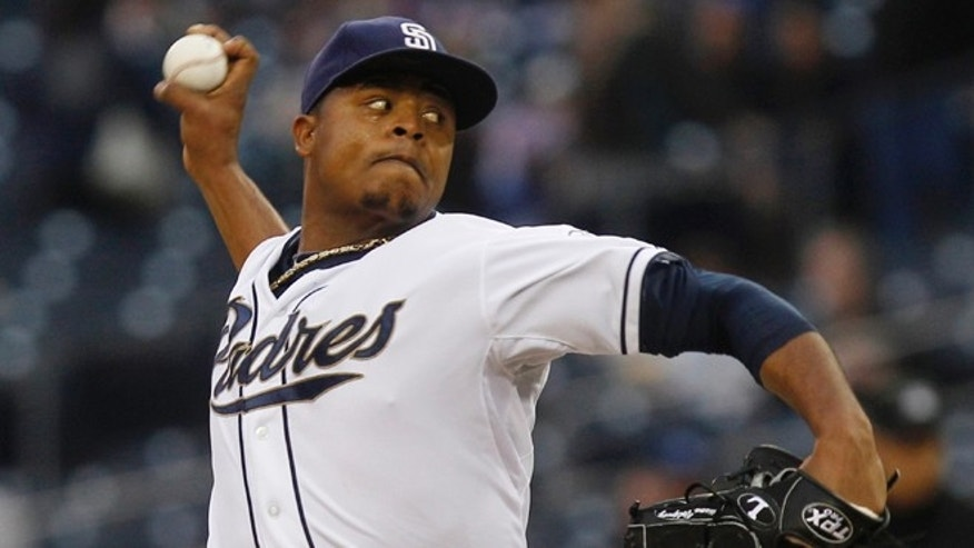 San Diego Padres starting pitcher Edinson Volquez works against the Milwaukee Brewers during the first inning of a baseball game Tuesday, May 1, 2012 in San Diego.
