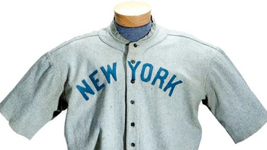 May 20, 2012: This undated photo provided by SCP Auctions shows a circa 1920 New York Yankees baseball jersey worn by Babe Ruth that sold for more than $4.4 million at auction.