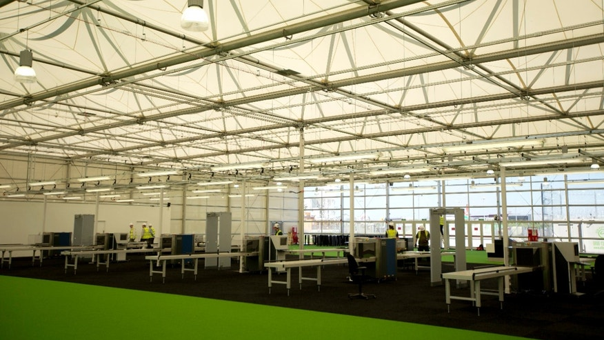 May 25, 2012: A general view shows the interior of the Games Terminal for the Olympics at Heathrow Airport in London.