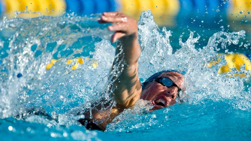 April 19, 2012: Janet Evans swims to a second-place finish in her heat of the 800-meter freestyle at the Fran Crippen Memorial Swim Meet of Champions in Mission Viejo, Calif.
