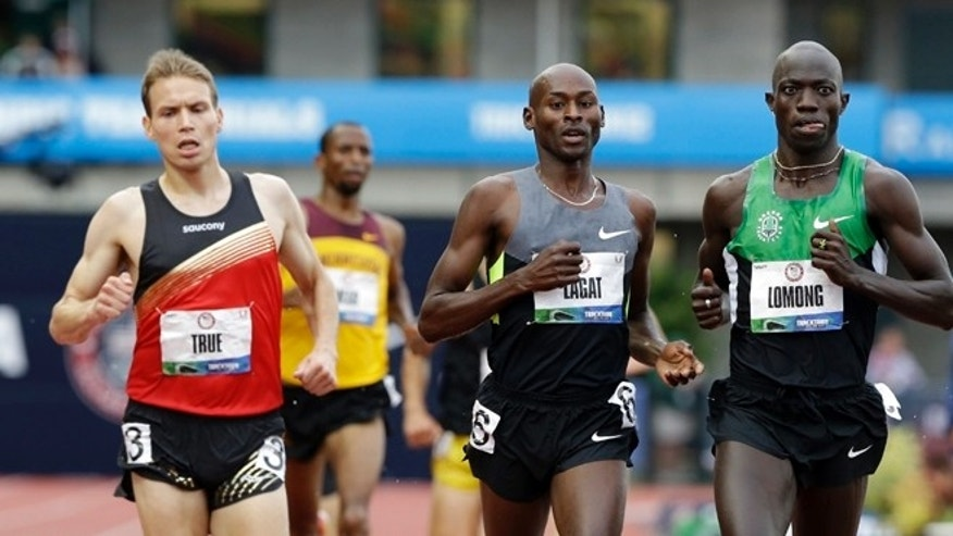 June 25, 2012L Lopez Lomong and Bernard Lagat finish the men's 5000m preliminary at the U.S. Olympic Track and Field Trials in Eugene, Ore.