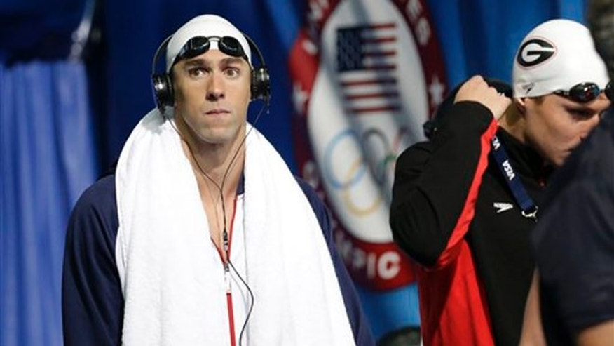June 25, 2012: Michael Phelps before swimming in the men's 400-meter individual medley preliminaries at the U.S. Olympic swimming trials in Omaha, Neb.