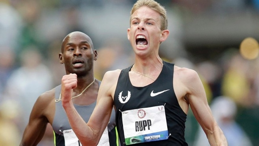 June 28, 2012: Galen Rupp celebrates after finishing first in the men's 5,000 meter finals at the U.S. Olympic Track and Field Trials in Eugene, Ore.