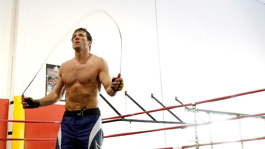 Chael Sonnen conducts a work out at the Team Quest gym on June 26, 2012 in Tualatin, Oregon.  Sonnen will figt Anderson Silva July 7, 2012 in UFC 148 in Las Vegas, Nevada.
