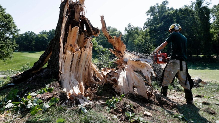 June 30, 2012: A worker uses a chainsaw to clear a tree that fell onto the 14th fairway at Congressional Country Club in Bethesda, Md., after a strong storm blew through overnight.