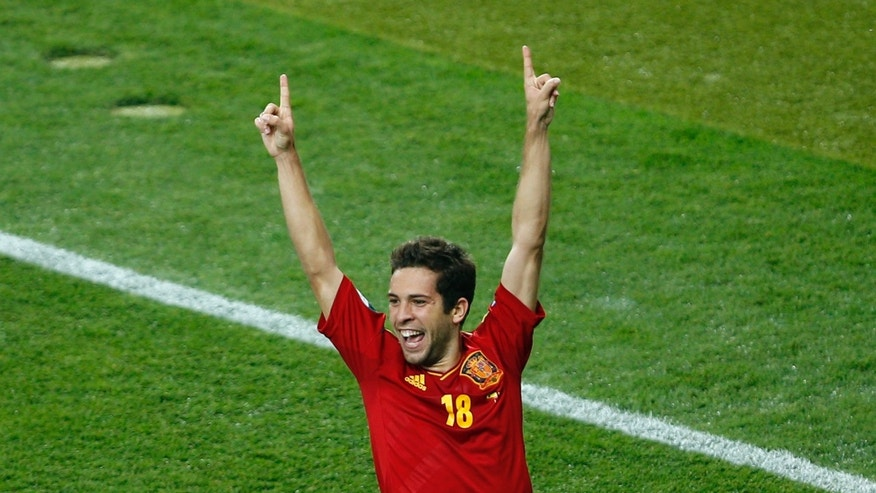 July 1, 2012: Spain's Jordi Alba celebrates scoring his side's second goal during the Euro 2012 soccer championship final  between Spain and Italy in Kiev, Ukraine.