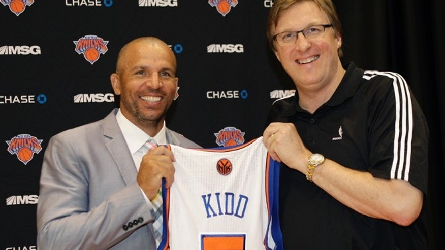 July 12, 2012: New York Knicks executive vice president and general manager Glen Grunwald poses for a photograph with Jason Kidd, one of the Knicks two newest additions, following a news conference at the team's training facility in Tarrytown, N.Y., Thursday, July 12, 2012.