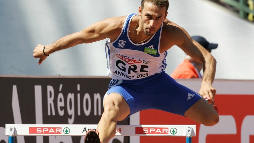 June 21, 2008: In this file photo, Periklis Iakovakis of Greece competes during the 400m hurdles race at the SPAR European Cup 2008 in Annecy, southeastern France.