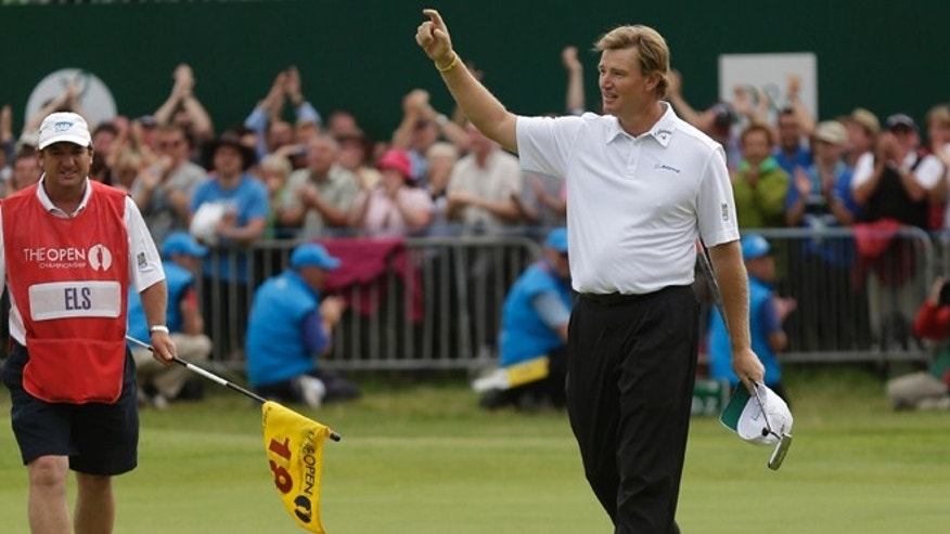 July 22, 2012: Winner of the British Open Golf Championship Ernie Els of South Africa reacts on the 18th green after his final round at Royal Lytham & St Annes golf club, Lytham St Annes, England.