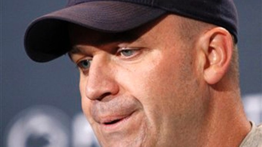 April 21, 2012: This file photo shows Penn State head coach Bill O'Brien during a news conference after the NCAA football team's annual Blue White spring scrimmage, in State College, Pa.