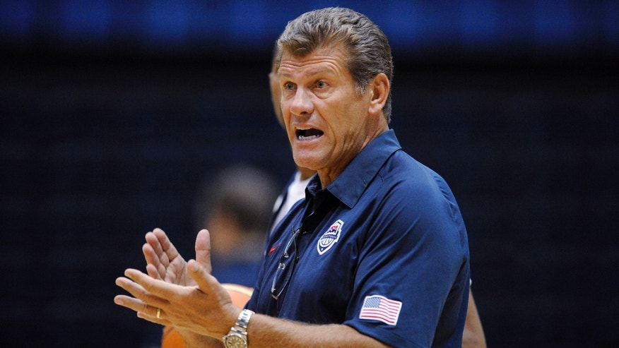 July 14, 2012: U.S. women' Olympic basketball team coach Geno Auriemma gestures during practice Saturday in Washington.