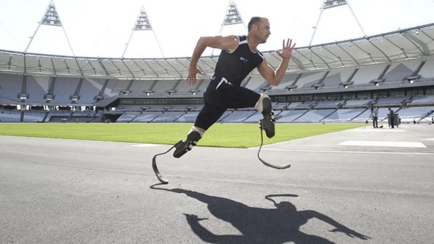 This is a handout photo issued by London 2012 Olympic Organizing Committee of Paralympic gold medallist and world-record holder Oscar Pistorius.