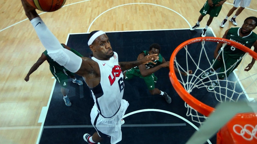 Aug. 2, 2012: Lebron James (6) of the United States shoots against Nigeria during a men&#39&#x3b;s basketball preliminary round match at the 2012 Summer Olympics in London.