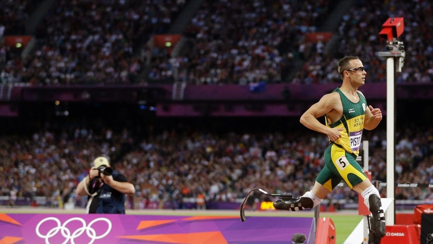 Aug. 5, 2012: South Africa's Oscar Pistorius crosses the finish line in a men's 400-meter semifinal during the athletics in the Olympic Stadium at the 2012 Summer Olympics, London.
