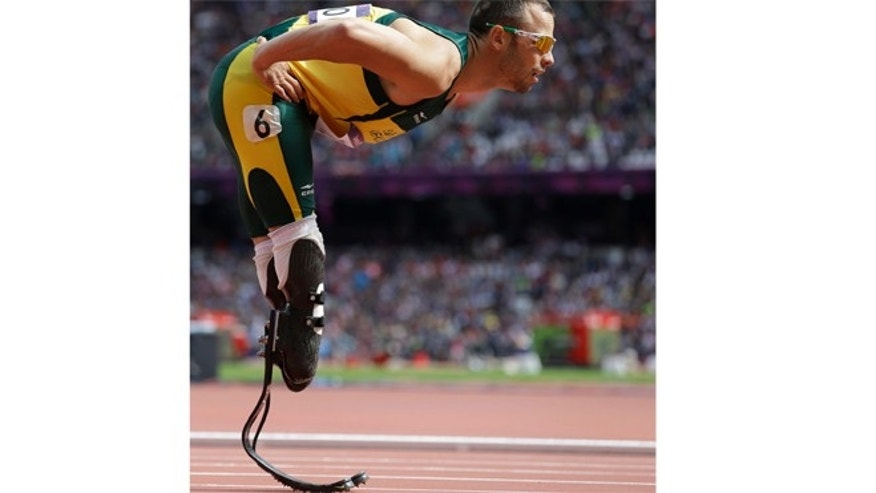 Aug. 4, 2012: South Africa's Oscar Pistorius prepares to compete in a men's 400-meter heat during the athletics in the Olympic Stadium at the 2012 Summer Olympics, in London.