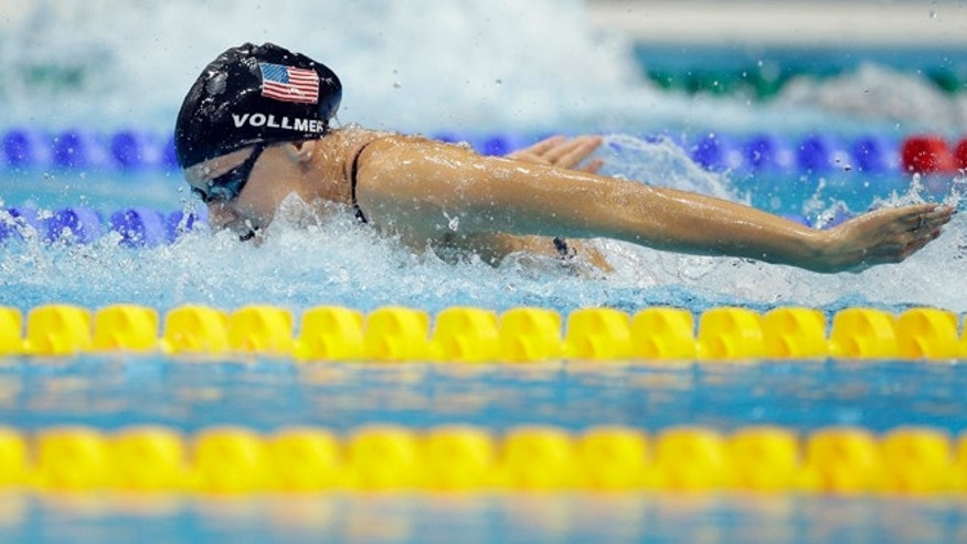 Aug. 4, 2012: United States' Dana Vollmer swims in the women's 4 x 100-meter medley relay final at the Aquatics Centre in the Olympic Park during the 2012 Summer Olympics in London.