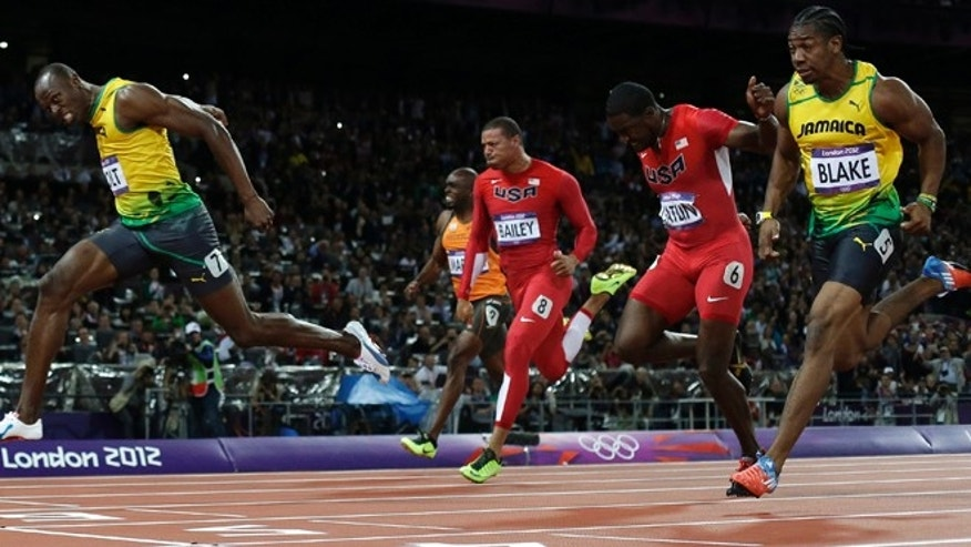 Sunday, Aug. 5: Jamaica's Usain Bolt, left, crosses the finish line ahead of Jamaica's Yohan Blake, right, United States' Justin Gatlin, second from right, United State's Ryan Bailey, third from right, and Netherlands'; Churandy Martina to win gold in the men's 100-meter final during the athletics in the Olympic Stadium at the 2012 Summer Olympics, London.
