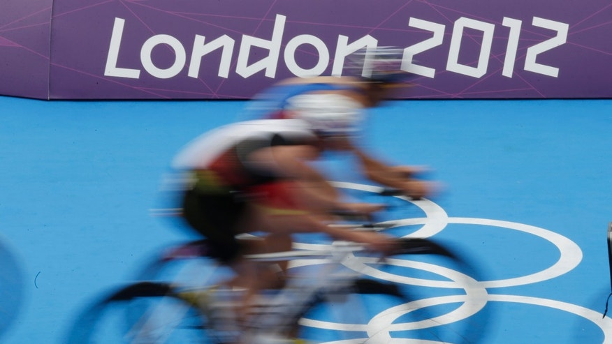 Aug. 7, 2012: Triathletes compete during the men's triathlon at the 2012 Summer Olympics, in London.