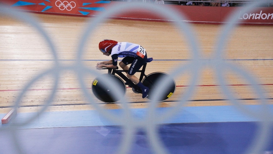 Aug. 7, 2012: Britain's Laura Trott competes in the track cycling women's omnium individual pursuit, at the 2012 Summer Olympics,  in London.
