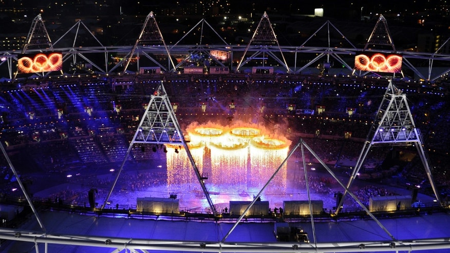 July 27, 2012: The Olympic rings are suspended over the stadium during the Opening Ceremony at the 2012 Summer Olympics.