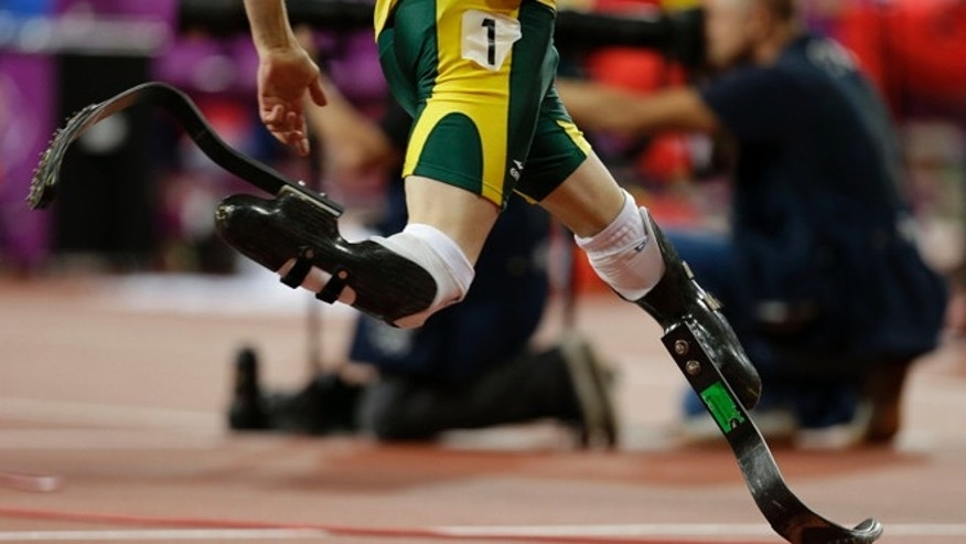 Aug. 10, 2012: South Africa's Oscar Pistorius competes in the men's 4x400-meter relay final during the London Olympics.