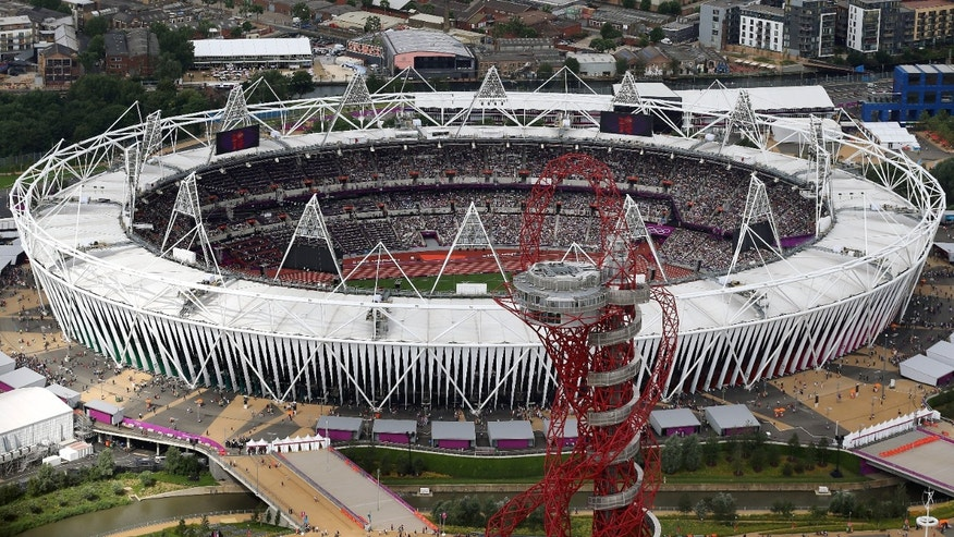 Aug. 3, 2012: An aerial photo that shows the Olympic Stadium and the Orbit during the 2012 Summer Olympics at Olympic Park, in London.