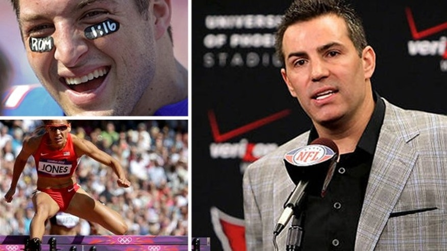 Kurt Warner knows the challenges Christian athletes like Tim Tebow (upper l.) and Lolo Jones (lower r.) face. (AP)