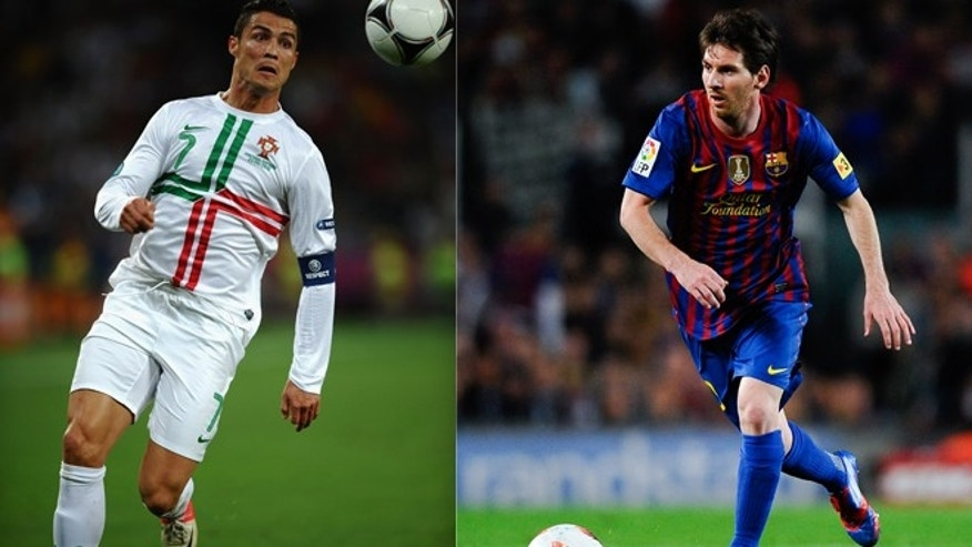 Cristiano Ronaldo pictured left and Lionel Messi pictured right.