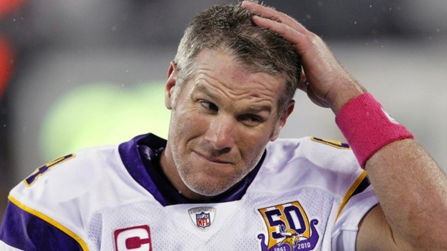 Oct. 11, 2010: Minnesota Vikings quarterback Brett Favre reacts during the third quarter of an NFL football game against the New York Jets in East Rutherford, N.J.