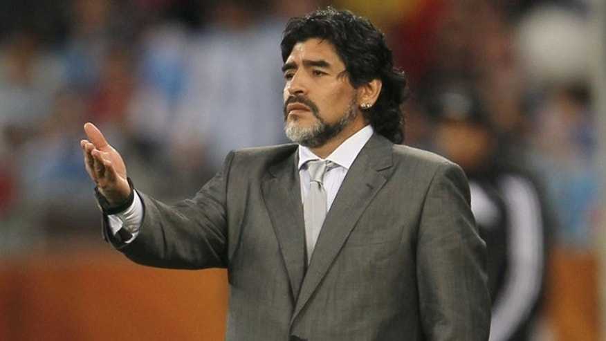CAPE TOWN, SOUTH AFRICA - JULY 03:  Diego Maradona head coach of Argentina gestures during the 2010 FIFA World Cup South Africa Quarter Final match between Argentina and Germany at Green Point Stadium on July 3, 2010 in Cape Town, South Africa.  (Photo by Chris McGrath/Getty Images) *** Local Caption *** Diego Maradona