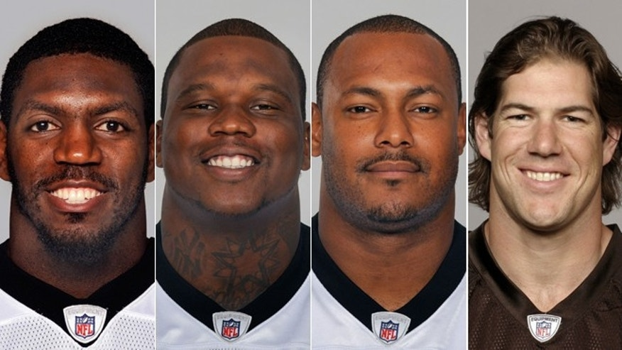 From left are NFL football players Jonathan Vilma, in 2011; Anthony Hargrove, in 2010; Will Smith, in 2011; and Scott Fujita, in 2011.