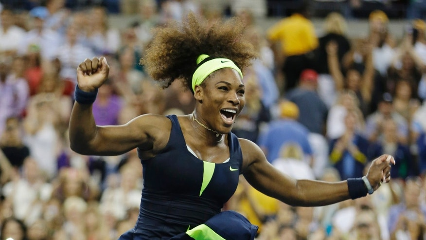 Sept. 9, 2012: Serena Williams reacts after beating Victoria Azarenka, of Belarus, in the championship match at the 2012 US Open tennis tournament in New York.