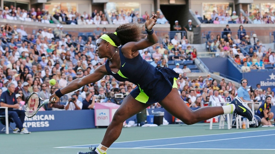 Sept. 9, 2012: Serena Williams returns a shot to  Victoria Azarenka, of Belarus, during the championship match at the 2012 US Open tennis tournament in New York.