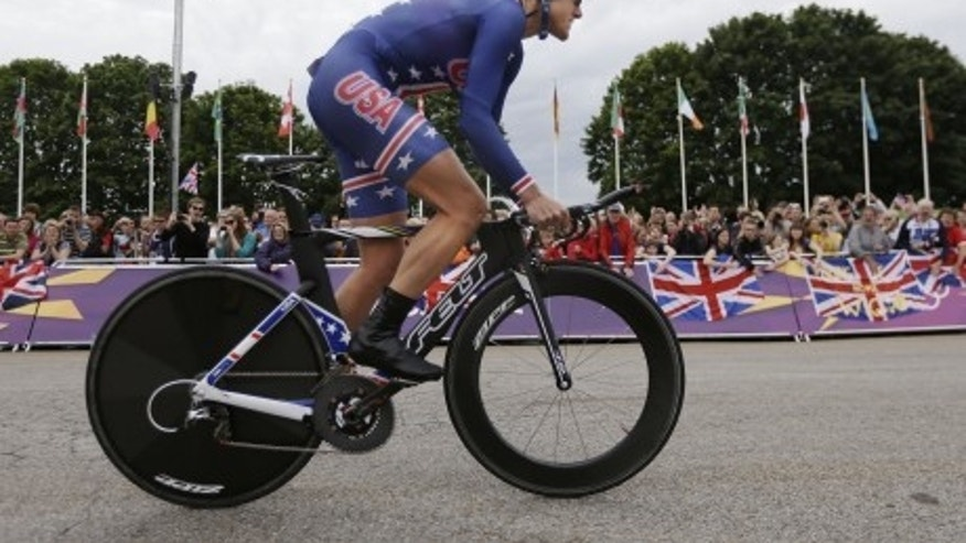 April 1, 2012: Gold medalist Kristin Armstrong, of the United States, competes in the women's individual time trial event at the 2012 Summer Olympics, in London.