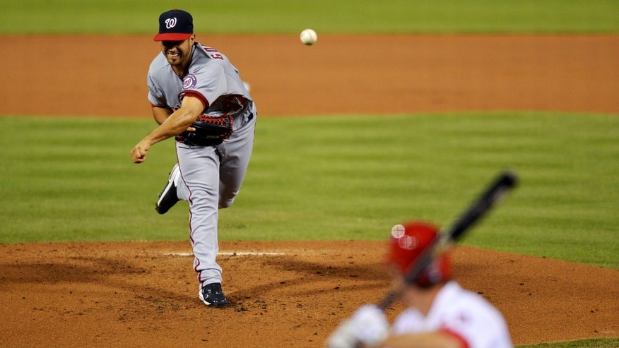 Sept.27, 2012: Starting pitcher Gio Gonzalez #47 of the Washington Nationals delivers a pitch to Chase Utley #26 of the Philadelphia Phillies at Citizens Bank Park in Philadelphia, Pa.