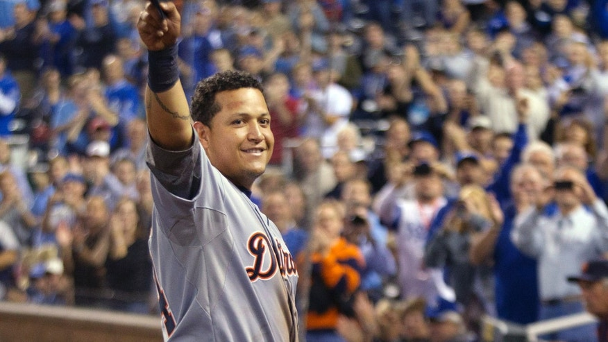 Oct. 3, 2012: Detroit Tigers' Miguel Cabrera waves to the crowd after being replaced during the fourth inning of a baseball game against the Kansas City Royals at Kauffman Stadium in Kansas City, Mo. Cabrera achieved baseball's first Triple Crown since 1967 by leading the league with a .330 average, 44 home runs and 139 RBIs in the regular season.